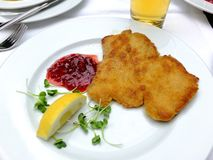 Wiener Schnitzel. Closeup of two wiener schnitzel  and lemon Stock Photography