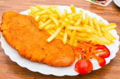 Wiener Schnitzel, French fries Royalty Free Stock Image