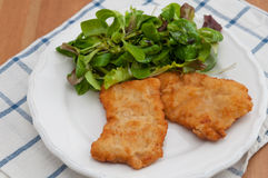 Wiener Schnitzel. With green salad Royalty Free Stock Photos