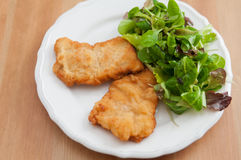 Wiener Schnitzel. With green salad Royalty Free Stock Images