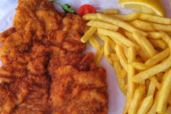 Wiener Schnitzel, Innsbruck, Austria, May 2007 Stock Photo