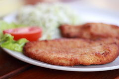 Wiener schnitzel with lettuce and tomato. Stock Photo