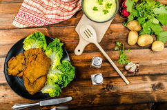 Wiener Schnitzel with mashed potato Stock Photos