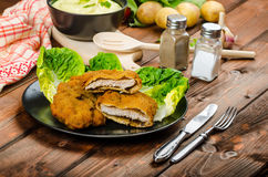 Wiener Schnitzel with mashed potato Stock Image