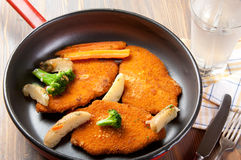 Wiener Schnitzels. In a non-stick pan Royalty Free Stock Photo
