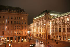 Wiener Staatsoper and Sacher Hotel. Night view of Vienna State Opera (Wiener Staatsoper) and Sacher Hotel in Vienna, Austria Royalty Free Stock Photography