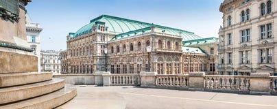 Wiener Staatsoper (Vienna State Opera) in Vienna, Austria. Panoramic view of Wiener Staatsoper (Vienna State Opera) in Vienna, Austria royalty free stock photography