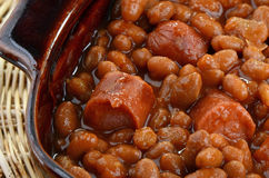 Wieners and beans. Grilled wieners and baked beans closeup Royalty Free Stock Photos