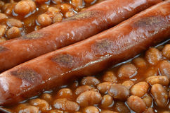 Wieners and beans. Grilled wieners and baked beans closeup Royalty Free Stock Photo