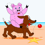 Wieprza obsiadanie na psie ilustracji