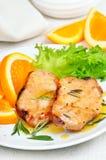 Wieprzowin cutlets z pomarańczowym kumberlandem Fotografia Royalty Free