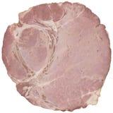 Wieprzowina baleronu plasterek Odizolowywający na Białym tle Obraz Stock