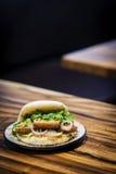 Wieprzowina brzucha babeczki pao tradycyjni chińskie przekąski kanapki jedzenie Zdjęcia Stock