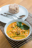 Wieprzowina curry z wodnym szpinakiem Obraz Stock
