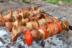Wieprzowina gotująca na grillu Mięso gotujący na węglach Wieprzowina jest przygotowywającym ogieniem Wieprzowina Kebab Mięso z ce obraz stock