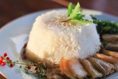 Wieprzowina gulasz z ryż i warzywami Zdjęcie Royalty Free