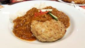 Wieprzowina hamburger z jajecznym curry'ego kumberlandem Obraz Royalty Free