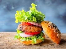Wieprzowina kotlecika stku hamburger Obraz Stock