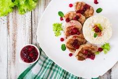 Wieprzowina medalionów stek z cranberry kumberlandem Fotografia Stock