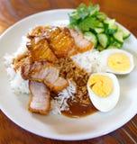 Wieprzowina piec ryż, Tajlandzki jedzenie Fotografia Stock