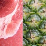 Wieprzowina plasterek vs ananas zdjęcie stock