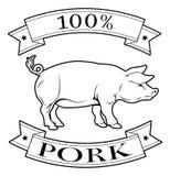 Wieprzowina 100 procentów etykietka Zdjęcia Stock