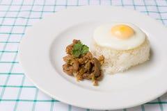 Wieprzowina smażący ryż Obrazy Royalty Free