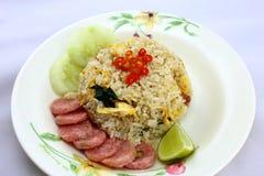 wieprzowina smażący ryż Obrazy Stock