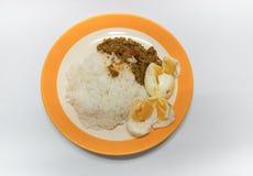wieprzowina z żółtą curry pastą z ryż zdjęcie stock