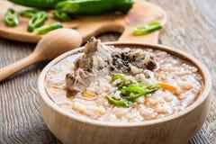 Wieprzowina ziobro zupni z ryż zdjęcia royalty free