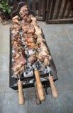 Wieprzowiny kebab na grillu Zdjęcia Stock