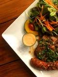 Wieprzowiny kiełbasa z, stek i zdjęcie stock