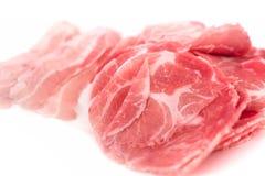 Wieprzowiny mięsa źródło proteina cienki plasterek na bielu obrazy stock