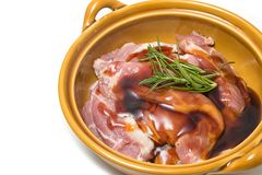 wieprzowiny mięsa stki z pikantność w pucharze Zdjęcie Royalty Free