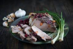 Wieprzowiny mięso z cranberry czosnkiem i kumberlandem Obraz Royalty Free