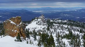 Świerczyny i falezy w Syberyjskich górach Fotografia Royalty Free