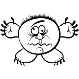 Wierd cartoon monster, absolute crazy numskull portrait, well, t Stock Photography