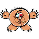 Wierd cartoon monster, crazy numskull portrait Royalty Free Stock Images