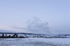 wiernego gejzeru np stara zima Yellowstone Obraz Royalty Free