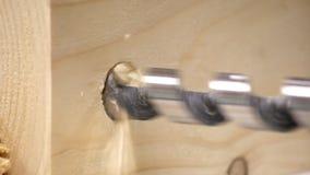 Wiertnicza dziura w drewno w cieśli warsztacie zbiory