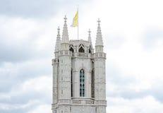 Wierza święty Bavo katedra jest gothic katedrą w historycznym centrum Belgijski miasto Ghent obrazy royalty free