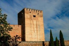 Wierza Alcazaba, Alhambra, Grenada, Hiszpania Zdjęcia Stock