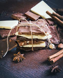 Wierza czekoladowi bary zawijający jak czekolady teraźniejszość Różnorodni czekoladowi kawałki, pikantność, kakaowy proszek i dok fotografia royalty free