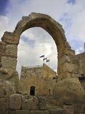 Wierza David cytadeli łuk z Izrael flaga Fotografia Stock