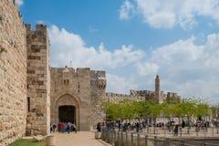 Wierza David i miasto ściana, Jerozolima, Izrael Zdjęcie Stock