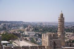 Wierza David, w Jerozolimskim starym mieście Obrazy Stock