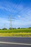 Wierza dla elektryczności w wiejskim Zdjęcia Stock