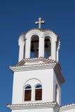 Wierza Greckokatolicki kościół w Paralia Katerini plaży, Grecja Zdjęcia Stock