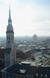 Wierza Heiliggeistkirche kościół w Monachium widok z lotu ptaka Obrazy Stock