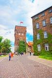 Wierza i podwórze Wawel Roszujemy niedalekiego Krakow i zaludniamy obrazy stock
